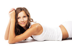 Young beautiful woman in white cotton underwear Royalty Free Stock Photo