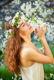 Young beautiful woman in white dress Stock Image