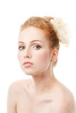 Young Beautiful Woman In White flower in her hair Stock Images