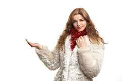 Young beautiful woman in white fur coat Royalty Free Stock Photo