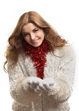 Young beautiful woman in white fur coat Stock Photography