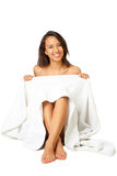 Young beautiful woman with a white towel Royalty Free Stock Photography