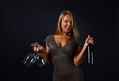 Young beautiful woman with wine Royalty Free Stock Photos