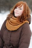 Young beautiful woman in winter. Outdoors portrait of young beautiful woman in winter Royalty Free Stock Photos