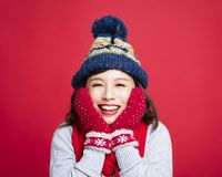 Young Beautiful Woman in winter clothes  Stock Images