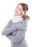 Young beautiful woman in winter clothes dreaming isolated on whi Royalty Free Stock Photography