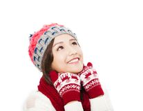 Young beautiful woman in winter clothes and looking up Royalty Free Stock Photography