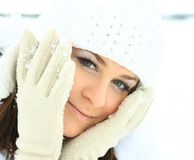 Young beautiful woman  in winter outdoors Royalty Free Stock Photo
