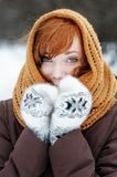 Young beautiful woman in winter Royalty Free Stock Photos