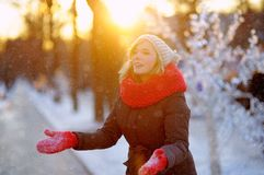 Young beautiful woman in winter Royalty Free Stock Photo