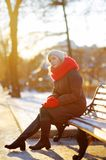 Young beautiful woman in the winter Royalty Free Stock Photos