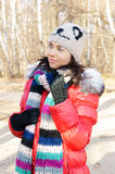 Young beautiful woman in winter overclothes Stock Images