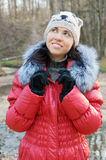 Young beautiful woman in winter overclothes Stock Photos