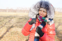 Young beautiful woman in winter overclothes Royalty Free Stock Photography