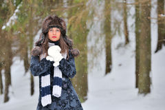 Young Beautiful Woman in winter time Stock Image