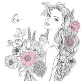 Young beautiful woman wirh flowers. Portrait of young beautiful woman wirh flowers Stock Photos