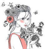 Young beautiful woman wirh flowers. Portrait of young beautiful woman wirh flowers Stock Image