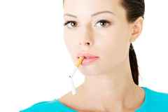 Free Young Beautiful Woman With Broken Cigarette. Stock Image - 36539611