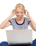 Young Beautiful Woman With Headphones Royalty Free Stock Image