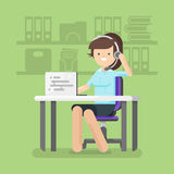 Young beautiful woman working as a call center operator. Vector flat style illustration of young beautiful woman working as a call center operator Royalty Free Stock Images