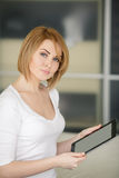 Young beautiful woman,working with laptop Stock Images