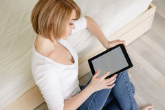 Young beautiful woman,working with laptop Royalty Free Stock Image