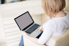 Young beautiful woman,working with laptop Royalty Free Stock Photo