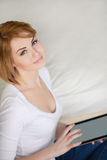 Young beautiful woman,working with laptop Stock Photo