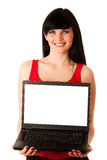 Young beautiful woman working on laptop Stock Image