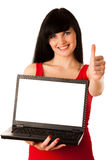 Young beautiful woman working on laptop Royalty Free Stock Photos
