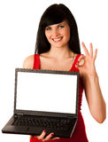 Young beautiful woman working on laptop Stock Photo