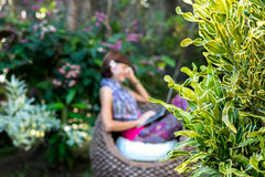 Young beautiful woman working with laptop at outdoor tropical park, smile and happy relaxing feeling in the morning Stock Image