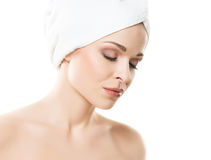 Young, beautiful woman wrapped ina  towel Royalty Free Stock Photos