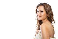 Young beautiful woman wrapped in towel after bath Royalty Free Stock Photography