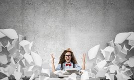 Creative inspiration of young female writer. Royalty Free Stock Image