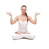 Young beautiful woman yoga posing. isolated Royalty Free Stock Images