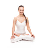 Young beautiful woman yoga posing. isolated Stock Photos