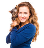 Young beautiful woman with Yorkshire Terrier Stock Photo