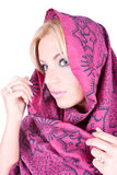 Young beautiful womanl  with kerchief Stock Image