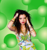 Young beautiful women with colorful beads Royalty Free Stock Photos