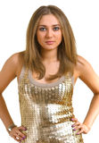 Young beautiful women in a golden dress Stock Image