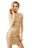 The young beautiful women in a golden dress. Isolation on a whit Stock Photos