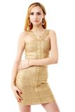 The young beautiful women in a golden dress. Isolation on a whit Royalty Free Stock Image
