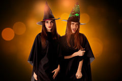 Young beautiful women in halloween style stock photography