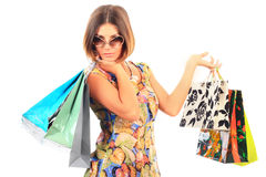 Young beautiful women with her shopping bags Stock Photography