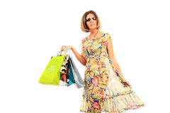 Young beautiful women with her shopping bags Royalty Free Stock Photography