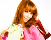 Young beautiful women with her shopping bags Royalty Free Stock Photos