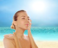 Young Beautiful Women On The Sunny Tropical Beach Stock Images