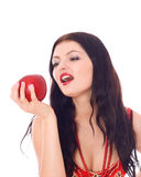 Young beautiful women with red apple in her hand. Young beautiful girl with red fruit in her hand, isolated on white Stock Photos