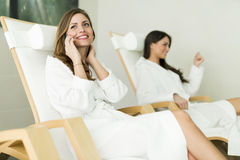 Young and beautiful women relaxing in a spa Stock Image